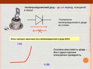 Напівпровідниковий діод – це p-n перехід, поміщений в корпус Позначення напі