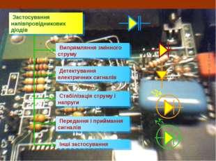Застосування напівпровідникових діодів Випрямляння змінного струму Детектува