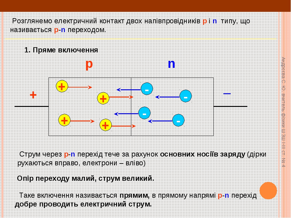 Розглянемо електричний контакт двох напівпровідників p і n типу, що називаєт...