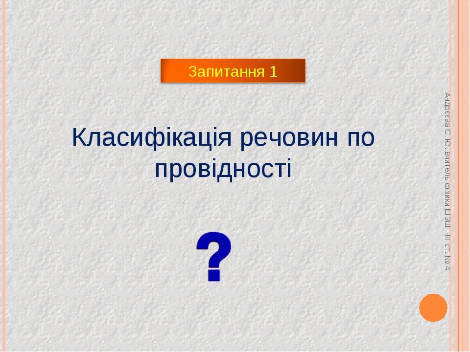 Класифікація речовин по провідності Андрєєва С. Ю. вчитель фізики ШЗШ І-ІІІ с...