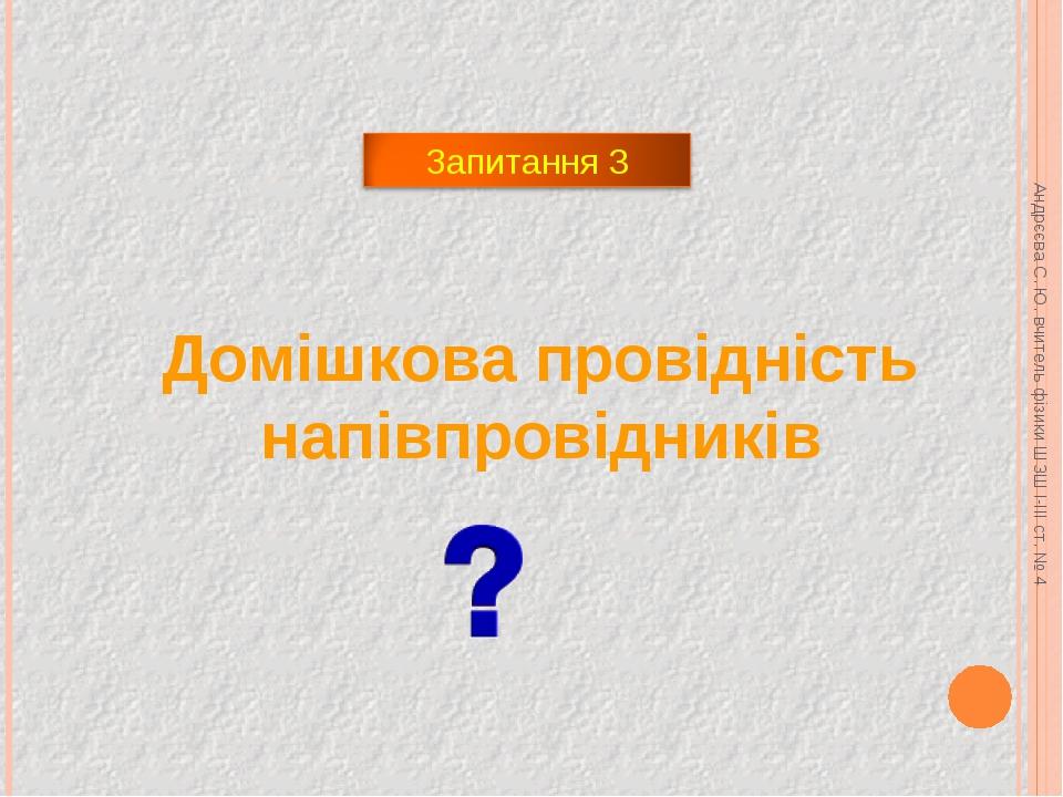 Домішкова провідність напівпровідників Андрєєва С. Ю. вчитель фізики ШЗШ І-ІІ...
