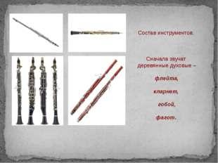 Состав инструментов. Сначала звучат деревянные духовые – флейта, кларнет, го