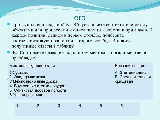 егэ При выполнении заданий В5-В6 установите соответствие между объектами или...