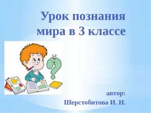 Урок познания мира в 3 классе автор: Шерстобитова И. Н.