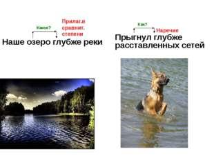 Наше озеро глубже реки Прыгнул глубже расставленных сетей Прилаг.в сравнит. с