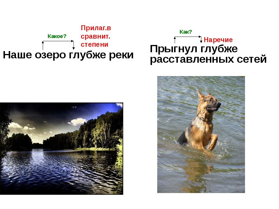 Наше озеро глубже реки Прыгнул глубже расставленных сетей Прилаг.в сравнит. с...