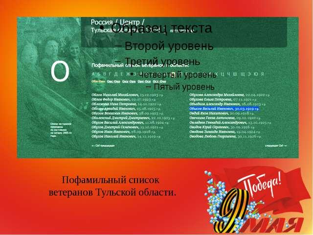 Пофамильный список ветеранов Тульской области.