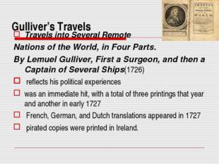 Gulliver's Travels Travels into Several Remote Nations of the World, in Four