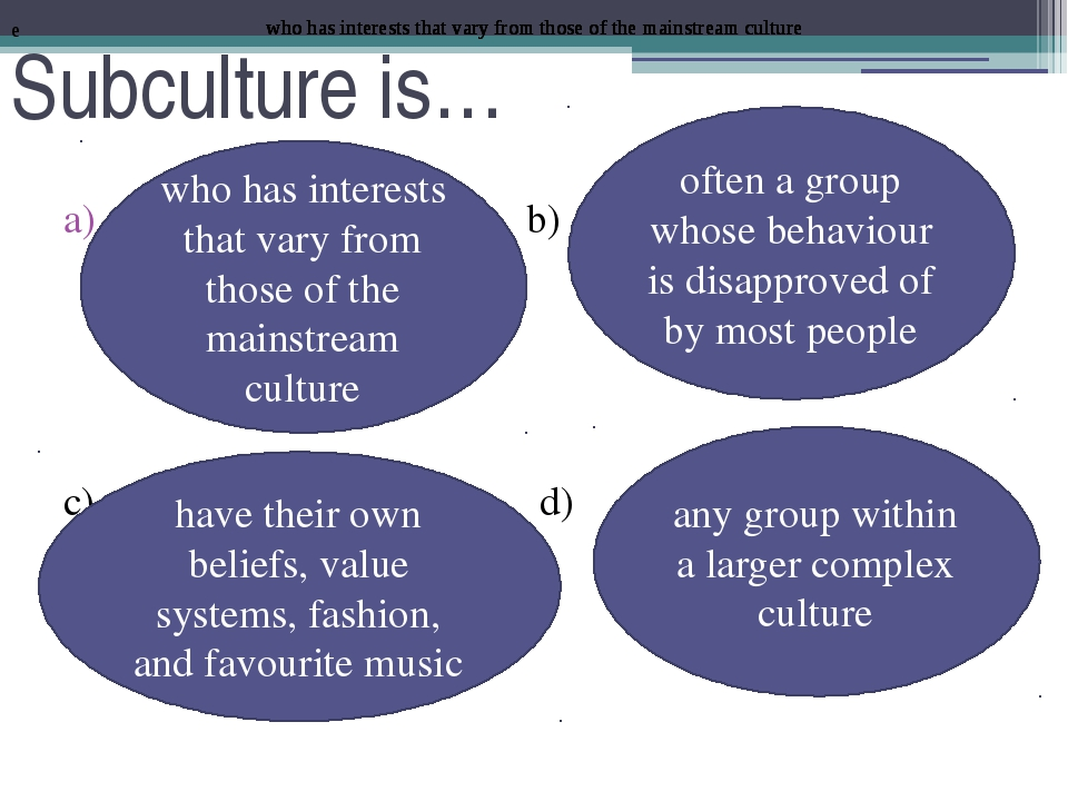 Subculture is… b) c) d) who has interests that vary from those of the mainstr...