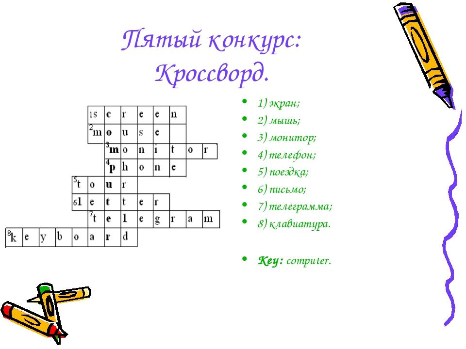 Пятый конкурс: Кроссворд. 1) экран; 2) мышь; 3) монитор; 4) телефон; 5) поезд...