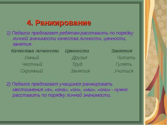 4. Ранжирование 1) Педагог предлагает ребятам расставить по порядку личной зн...