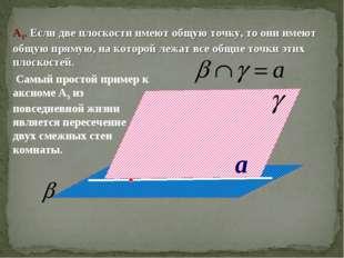 a А3. Если две плоскости имеют общую точку, то они имеют общую прямую, на кот