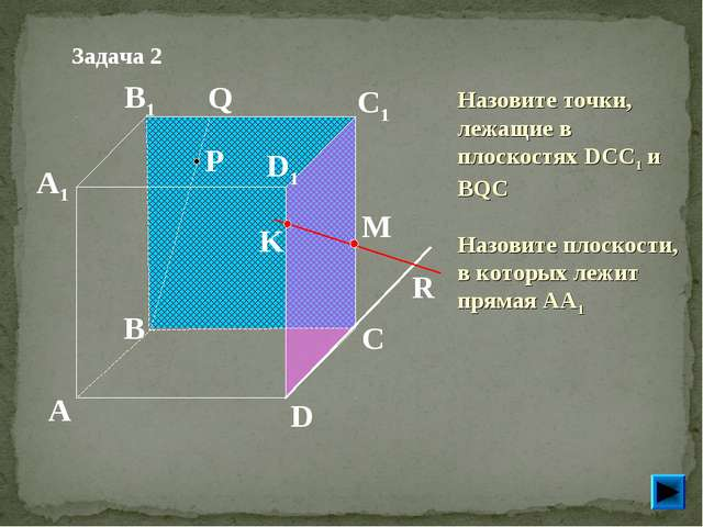P A B C D A1 B1 C1 D1 R M K Q Задача 2 Назовите точки, лежащие в плоскостях D...