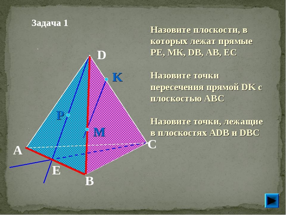 Задача 1 Назовите плоскости, в которых лежат прямые РЕ, МК, DB, AB, EC Назов...