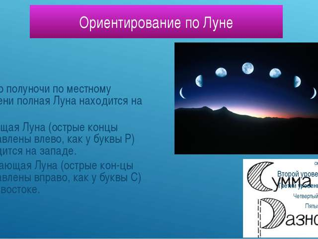 Ориентирование по Луне Около полуночи по местному времени полная Луна находит...