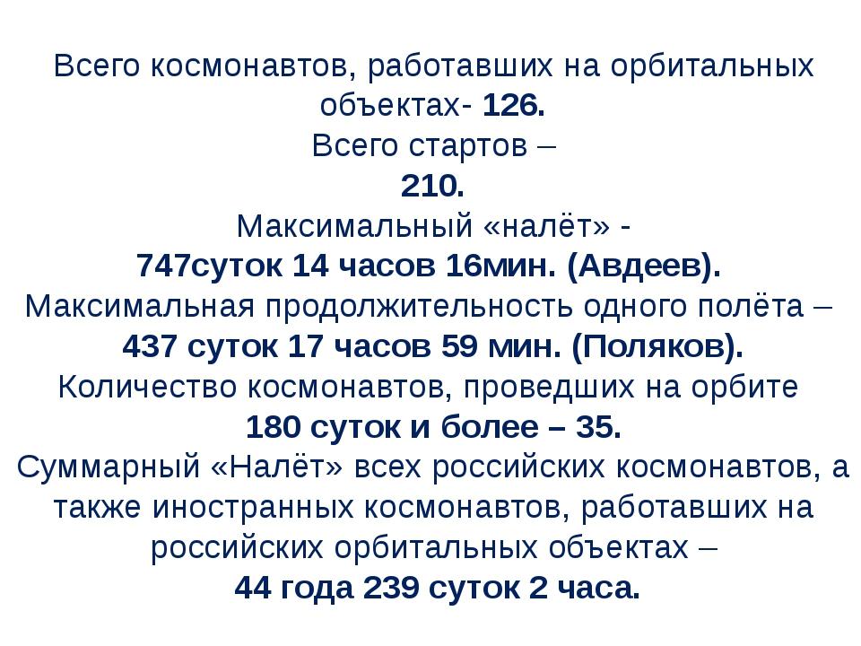 Всего космонавтов, работавших на орбитальных объектах- 126. Всего стартов – 2...