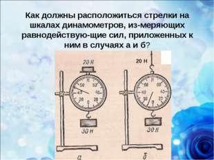 Как должны расположиться стрелки на шкалах динамометров, измеряющих равнодей