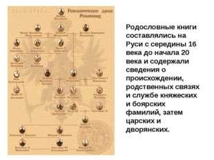 Родословные книги составлялись на Руси с середины 16 века до начала 20 века и