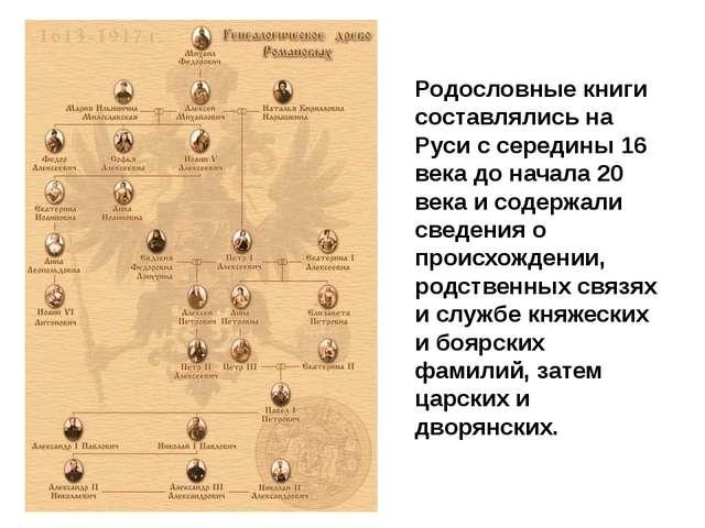 Родословные книги составлялись на Руси с середины 16 века до начала 20 века и...
