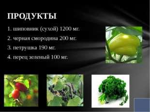 1. шиповник (сухой) 1200 мг. 2. черная смородина 200 мг. 3. петрушка 190 мг.