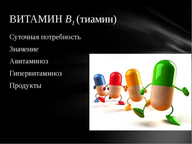 Суточная потребность Значение Авитаминоз Гипервитаминоз Продукты ВИТАМИН В1 (...