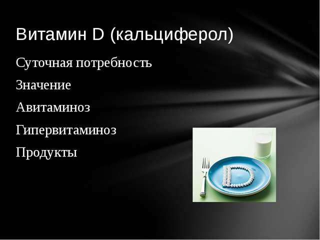 Суточная потребность Значение Авитаминоз Гипервитаминоз Продукты Витамин D (к...