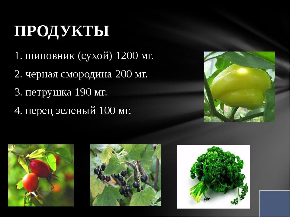 1. шиповник (сухой) 1200 мг. 2. черная смородина 200 мг. 3. петрушка 190 мг....