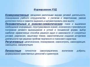 Формирование УУД Коммуникативные: овладение различными видами речевой деятель