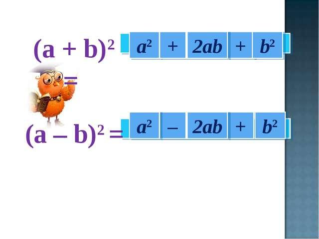а2 + + + – а2 b2 b2 2ab 2ab