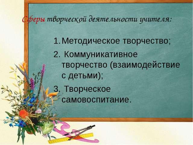 Сферы творческой деятельности учителя: Методическое творчество; Коммуникативн...