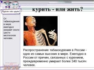 курить - или жить? Распространение табакокурения в России - одно из самых выс