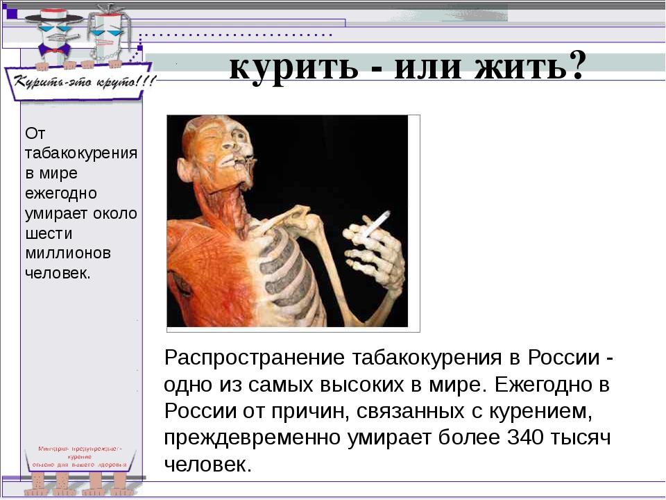 курить - или жить? Распространение табакокурения в России - одно из самых выс...
