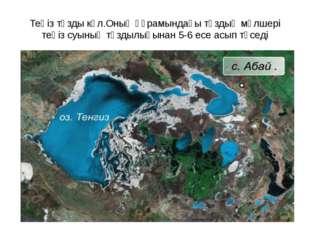 Теңіз тұзды көл.Оның құрамындағы тұздың мөлшері теңіз суының тұздылығынан 5-6