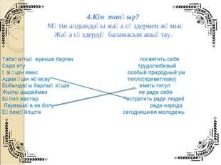 4.Кім тапқыр? Мәтін алдындағы жаңа сөздермен жұмыс Жаңа сөздердің баламасын