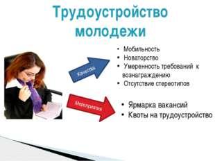Трудоустройство молодежи Ярмарка вакансий Квоты на трудоустройство Качества М
