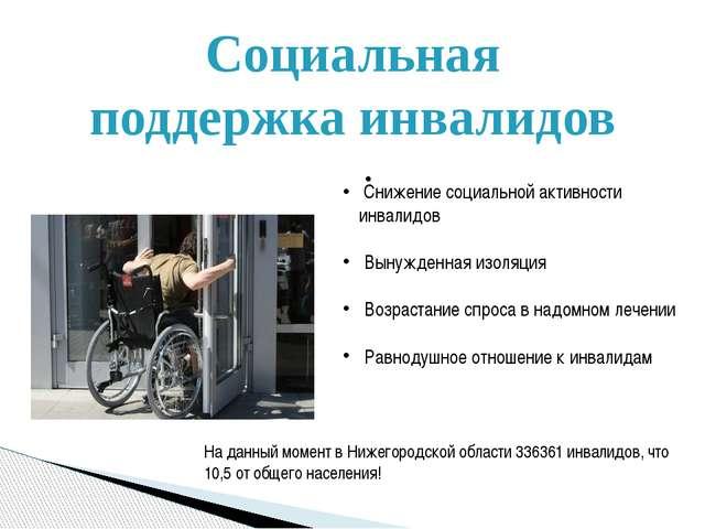 Социальная поддержка инвалидов Снижение социальной активности инвалидов Вынуж...