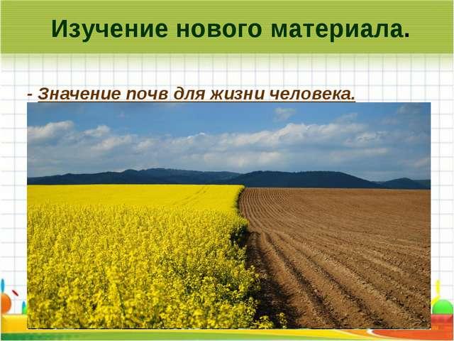 Изучение нового материала. - Значение почв для жизни человека. Почвы для чел...