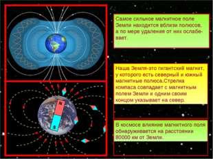 Самое сильное магнитное поле Земли находится вблизи полюсов, а по мере удален