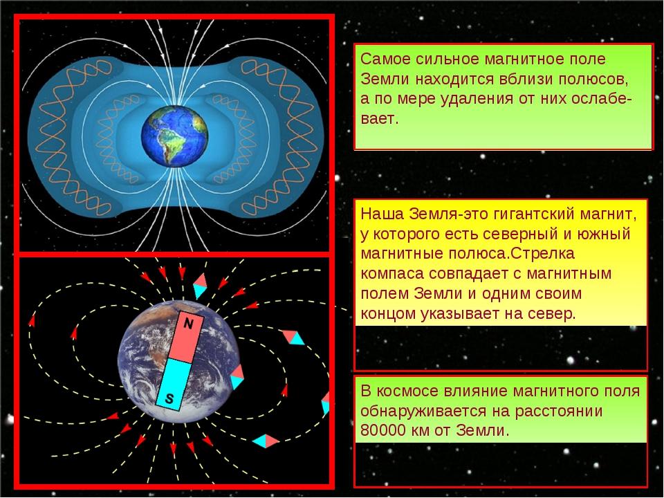 Самое сильное магнитное поле Земли находится вблизи полюсов, а по мере удален...