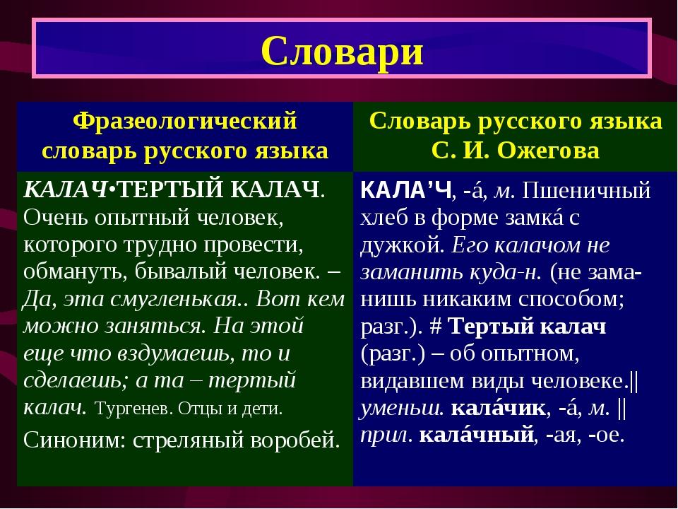 Словари Фразеологический словарь русского языкаСловарь русского языка С. И....