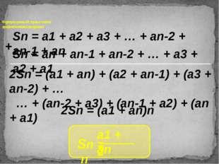 Формула суммы n первых членов арифметической прогрессии Sn = a1 + a2 + a3 +