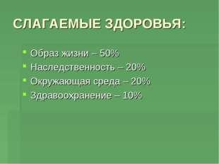СЛАГАЕМЫЕ ЗДОРОВЬЯ: Образ жизни – 50% Наследственность – 20% Окружающая среда