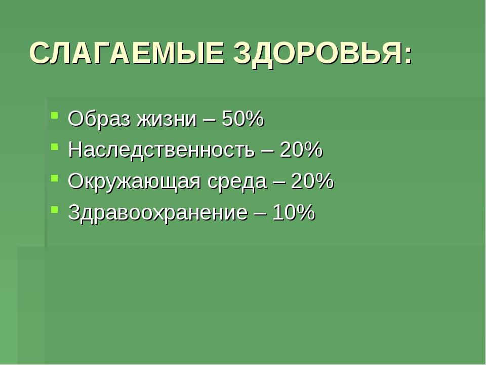СЛАГАЕМЫЕ ЗДОРОВЬЯ: Образ жизни – 50% Наследственность – 20% Окружающая среда...