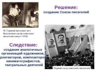 М. Горький выступает на I Всесоюзном съезде советских писателей (август 1934)