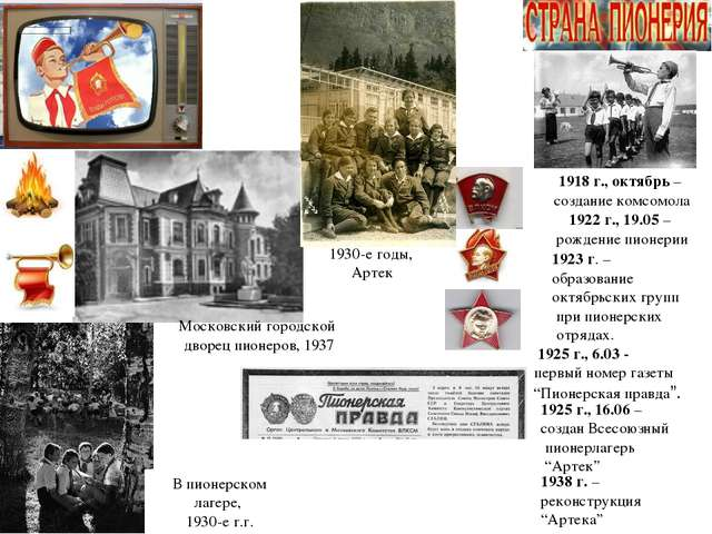 В пионерском лагере, 1930-е г.г. 1922 г., 19.05 – рождение пионерии 1923 г. –...
