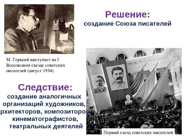 М. Горький выступает на I Всесоюзном съезде советских писателей (август 1934)...