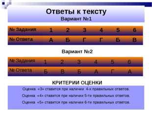 Ответы к тексту Вариант №1 Вариант №2 КРИТЕРИИ ОЦЕНКИ Оценка «3» ставится при