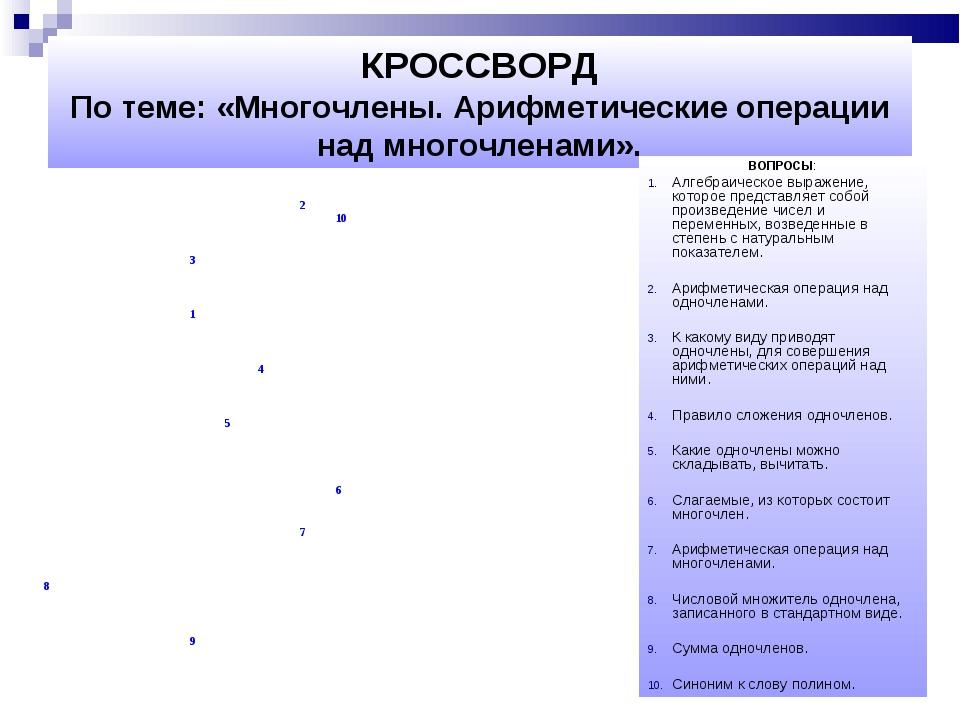 КРОССВОРД По теме: «Многочлены. Арифметические операции над многочленами». ...