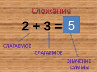 2 + 3 = 5