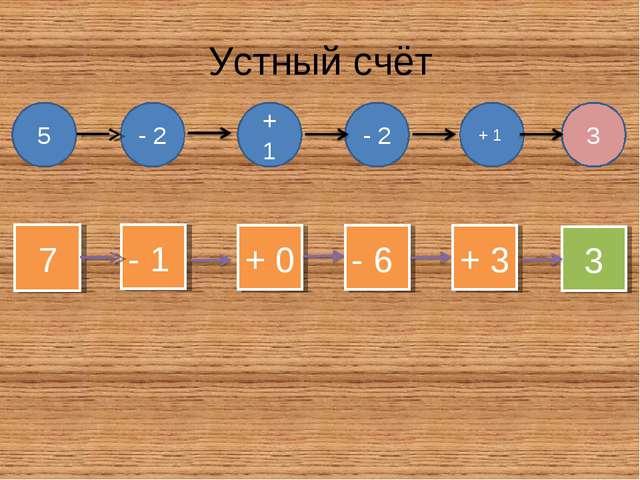 Устный счёт 5 - 2 + 1 - 2 + 1 3 7 - 1 + 0 - 6 + 3 3